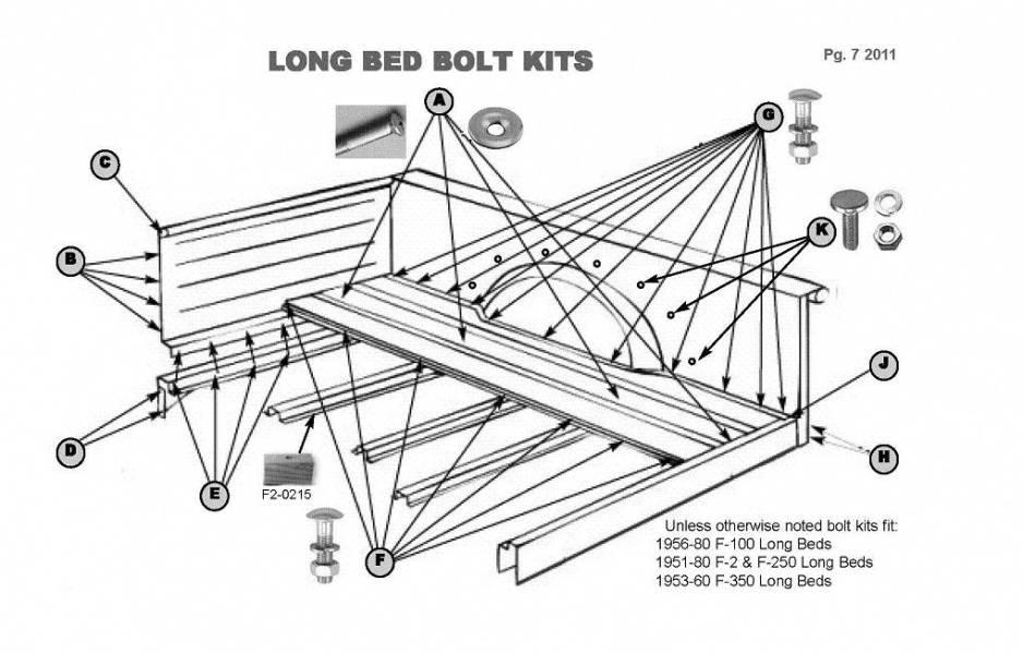 1950 72 Ford F 100 Long Bed Assembly Bolt Kit B C D E H