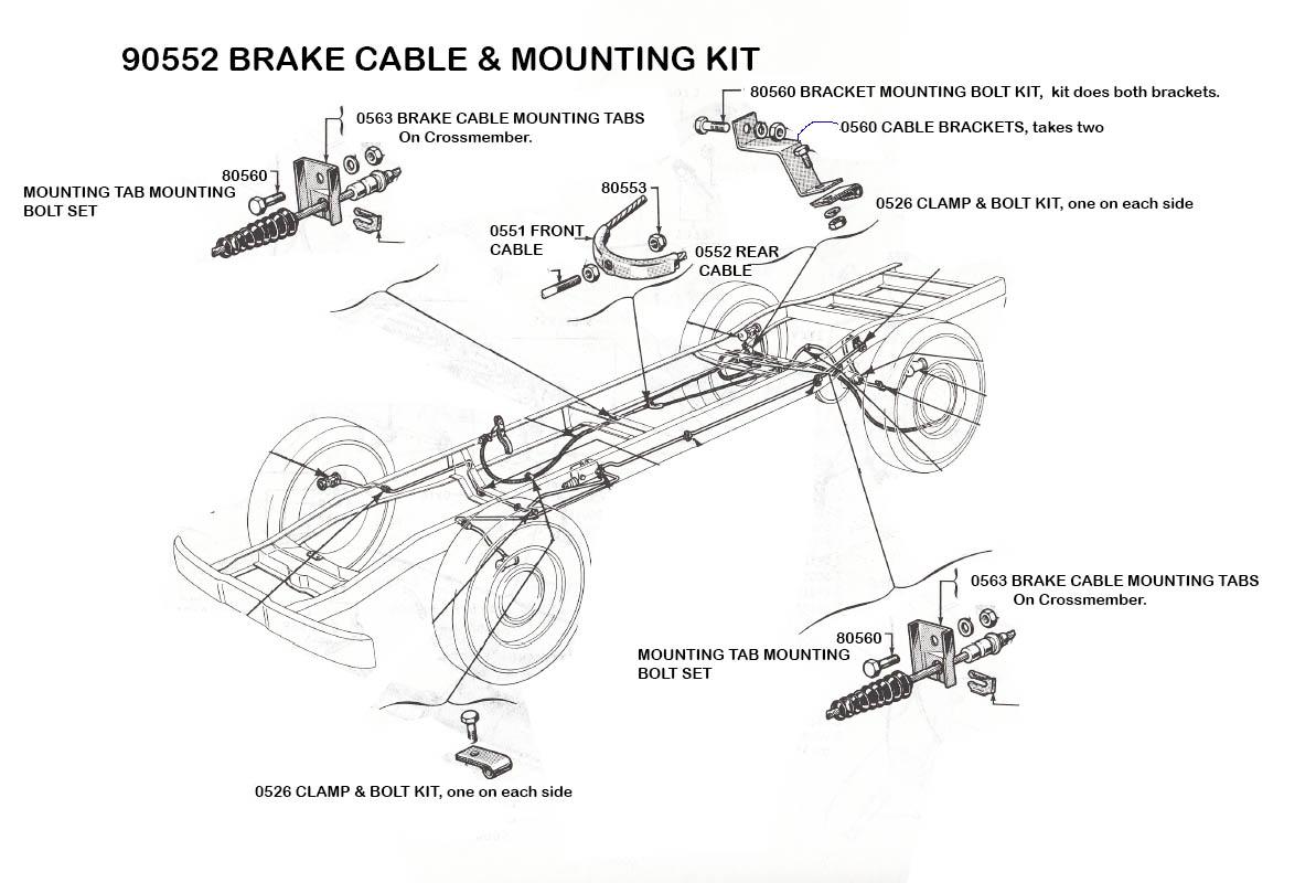 Parking Brake Mid Fifty F 100 Parts 1949 Ford Truck Wiring Diagram On 1948 F1 Harness Fits 56 Trucks Part 90552 15500 Kit